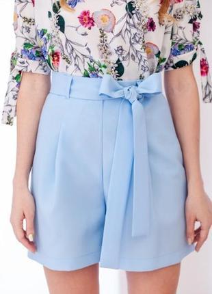 Стрейч нарядные голубые шорты с высокой талией посадкой и бантом короткие
