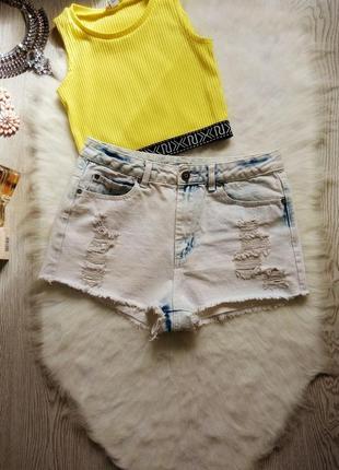 Светлые голубые белые джинсовые шорты высокая талия посадка секси короткие дырками
