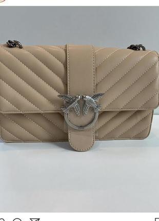 Кожаная сумка pinko цвет бежевый, чёрный