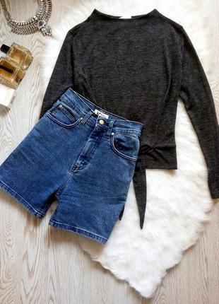 Синие короткие шорты с высокой талией посадкой плотные стрейч секси длинные джинсовые