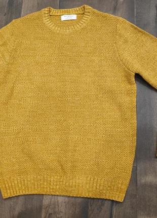 Горчичный текстурный свитер primark, новый! м р.