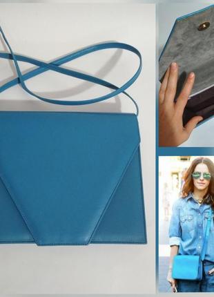 Роскошная винтажная кожаная сумочка крос боди клатч конверт трансформер 100% кожа
