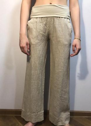 Распродажа брюки штаны льняные укороченные широкие s m