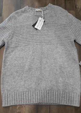 Красивый серый мужской свитер, l р. в составе шерсть. новый!