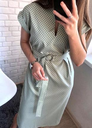 Платье миди в горох оливковое, зеленое