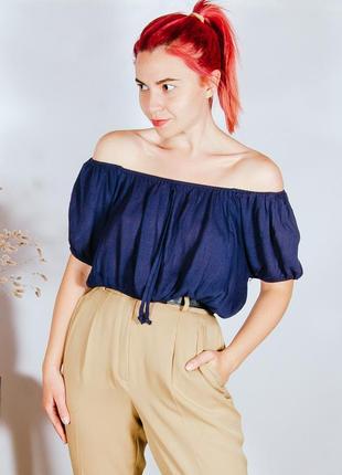 Летняя блузка с объемными плечами, синий топик блузка, летняя блуза, кроп топ