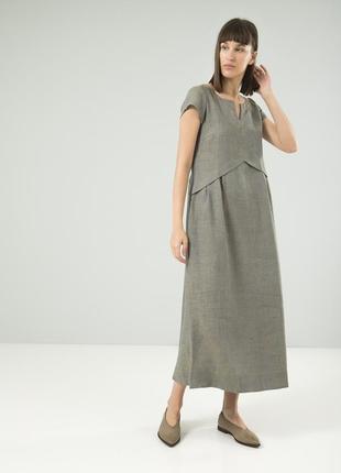 Комфортное платье из льна season серо-голубого цвета