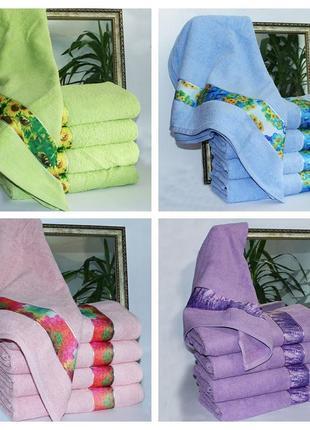 Турецкие махровые полотенца с летним дизайном, размер 50х90 см . 100% хлопок.