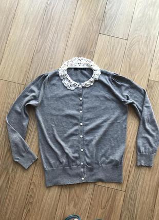 Кардиган свитерок нежный с вязаным воротником в бусинках