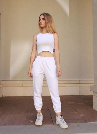 Крутий літній білий комплект,топ та штани