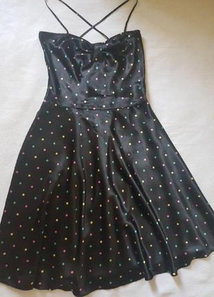Красивое платье - сарафан в горошек из тонкого атласа, англия