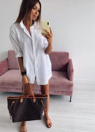 Натуральная льняная рубашка блуза платье под лен
