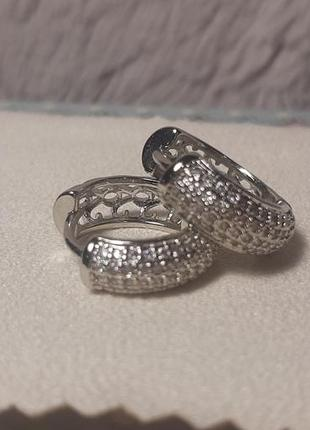 Серьги серебро 925 проба, колечки в камешках