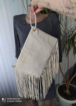 Афигительный клатч сумка с бахромой на кольце