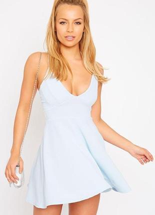 👗очаровательное небесно голубое платье/голубое платье миди колокольчик с декольте👗