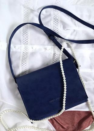 Синяя сумка / сумочка через плечо/ еко кожа