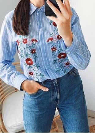 Натуральная оверсайз рубашка в полоску с вышивкой missguided