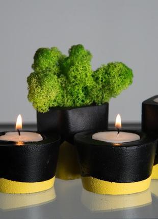 Набор бетонного декора черно-желтый, с 4 ед.