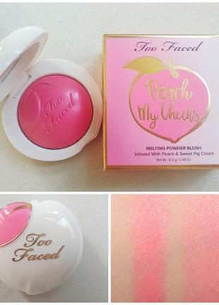 Румяна too faced - peach my cheeks melting powder, сша, оригинал