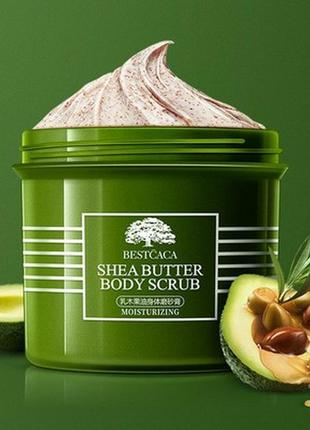 Натуральний скраб для тіла, скраб для тела bestcaca shea butter body scrub 250g