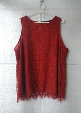 Кружевная блуза кирпичного цвета