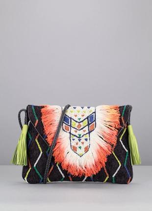 Antik batik ! франция, эффектная бохо этно сумка, с бахромой, бисером, натуральная кожа,