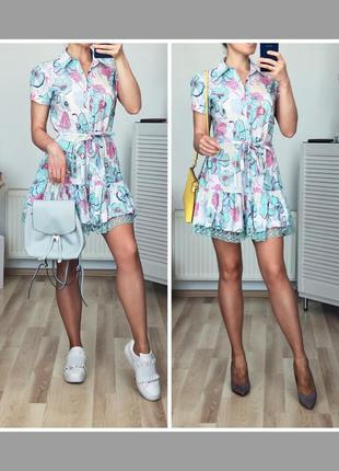 Шикарное котоновое платье рубашка в нежную расцветку
