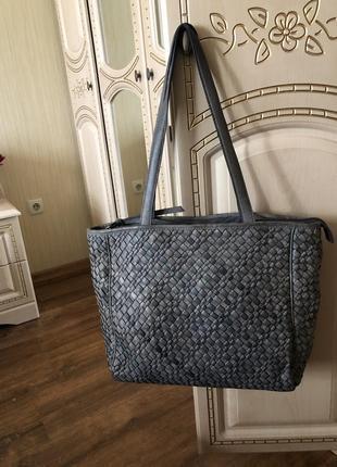 Огромная кожаная сумка шоппер тоут, натуральная кожа, плетение как в bottega veneta