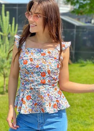 Стильгая блуза  белая/синий