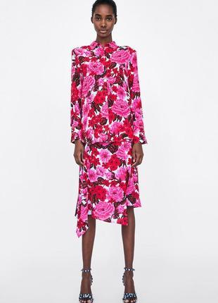 Культовая штапельная асимметричная юбка длины миди в цветочный принт цветы от zara