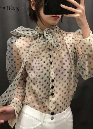 Шикарнейшая  блуза в горох с объемными рукавами от zara