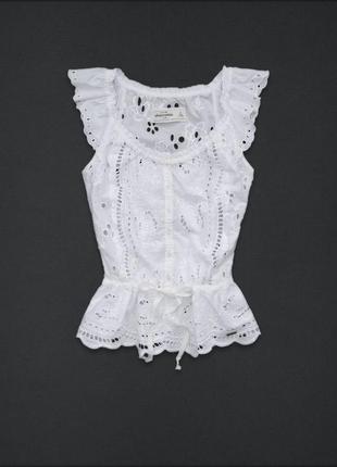Блуза блузка топ белая кружево шитье из прошва летняя abercrombie&fitch оригинал хлопковая