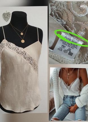 Фирменная шелковая майка в бельевом стиле 100% шёлк шовк качество!!!