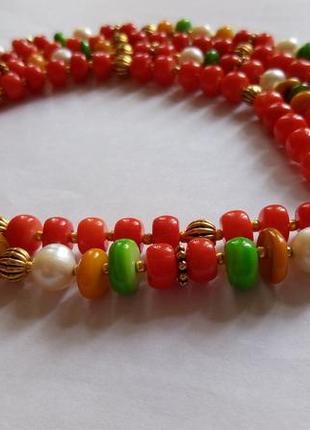 Двойные бусы- ожерелье , натуральный жемчуг, стекло европа