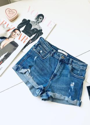 Крутые высокие трендовые джинсовые рваные шорты высокая посадка