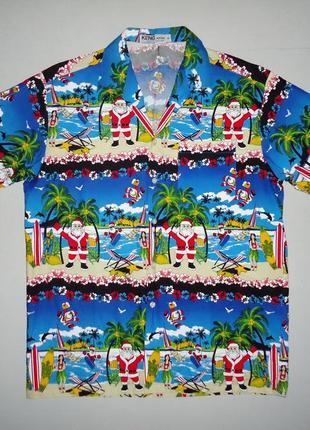 Рубашка гавайская keng arporn с д. морозом гавайка m
