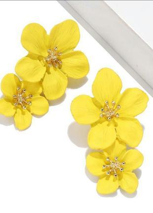 Серьги жёлтые цветы