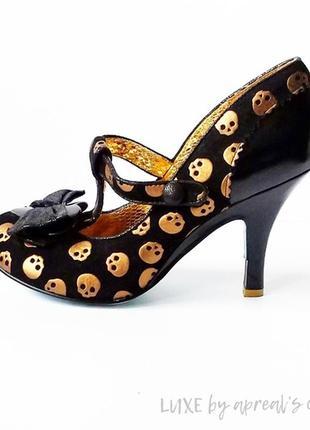 Готические винтажгые туфли с черепами irregular choice