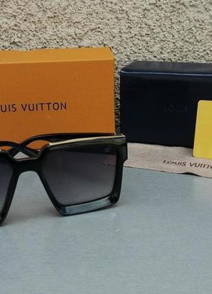Louis vuitton очки женские солнцезащитные большие черные с золотом