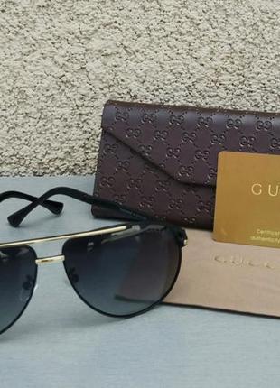 Gucci очки мужские солнцезащитные черные с золотом поляризированые