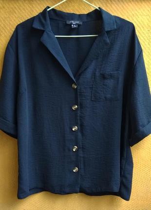 🔴sale🔴 сорочка блуза темно-синя на короткий рукав new look, uk16