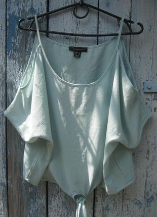 Мятная блуза открытые плечи впереди бант оверсайз  atmosphere
