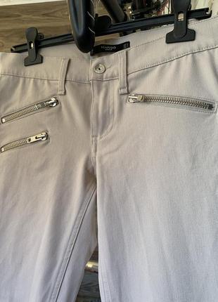 Штаны джинсы светлые бежевые укорочённые mango