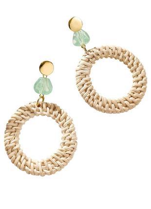 Сережки   breeze straw earrings