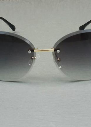 Bvlgari очки женские солнцезащитные темно серые с градиентом безоправные