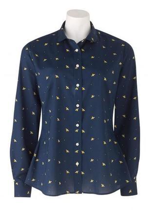 Женская темно-синяя рубашка с принтом в виде пчелы the savile row company (размер 38)