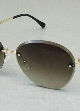 Bvlgari очки женские солнцезащитные коричнево зеленые с градиентом безоправные