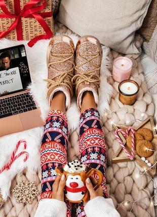Рожево-золоті уггі glossy boots
