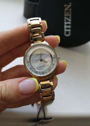 Женские часы с бриллиантами citizen eco drive япония