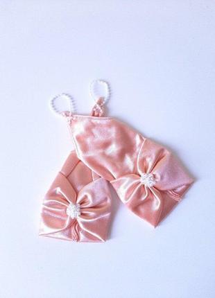 Перчатки персик под нарядные платья